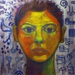 Self-portrait/Dychotomy. Acrylic on canvas. 1999.