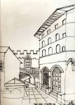 Piazza as outdoor living room. Firenze. Ink on paper. 2006