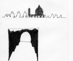 Analysis of positive/negative space and the view from the Fortress to the city. Ink on paper. Firenze. 2006