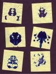 Post-It and Ink [Rorschach inkblots] for Art Bacchalaureate Thesis(2002)