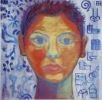 Dychotomy/Self-Portrait. Acrylic on canvas. 2002