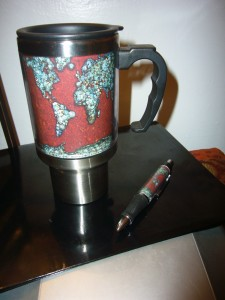 Final design in customizable mug and pen.
