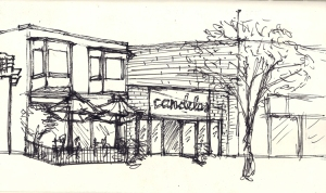 Original Sketch, Candelas Restaurant, Pilot Pen on Paper