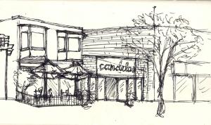 Original Sketch, Candelas Restaurant, Pilot Pen on Paper