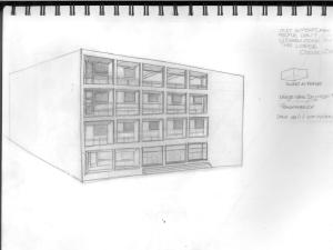 Casa Del Fascio, scan of original sketch (notice loss of contrast), Como, 2007