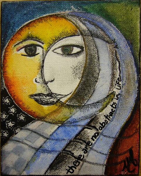 """The Sun, the Moon, and on there being no abstracts in life. Pencil, ink, watercolor on 4""""X5"""" canvas.2009"""