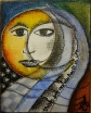 "The Sun, the Moon, and on there being no abstracts in life. Pencil, ink, watercolor on 4""X5"" canvas.2009"