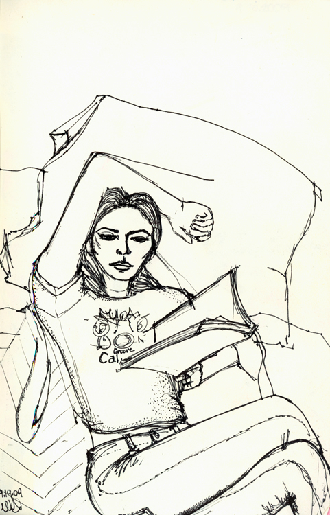 Amina Reading II. Ink on paper. Sept.19,2009