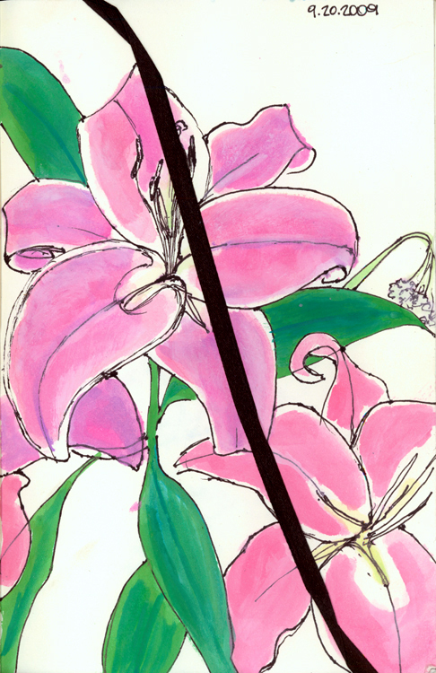 Orchids and the Happy Mistake. Ink and watercolor. Sept. 20, 2009.
