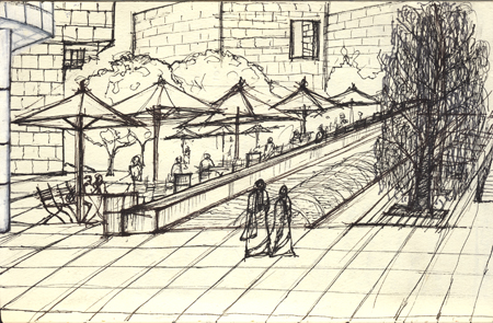 Courtyard @ The Getty. Los Angeles. Pilot Pen on paper. November 1, 2009