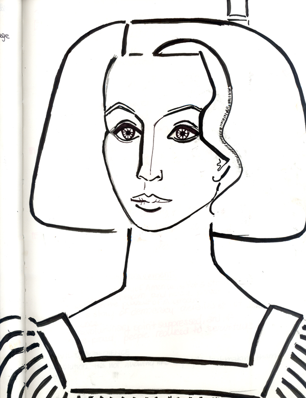 Francoise Gilot (Picasso's Mistress), Self- Portrait. Copy. Ink on Paper. I saw this at the San Diego Museum of Art, and needed to have it.