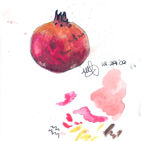 Miniature Pomegranate. Watercolor on chocolate wrap. Kuwait. January 2010
