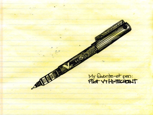 Pilot Pen V5 (aka Pilot Precise Extra Fine) on office pad. August 3, 2010.