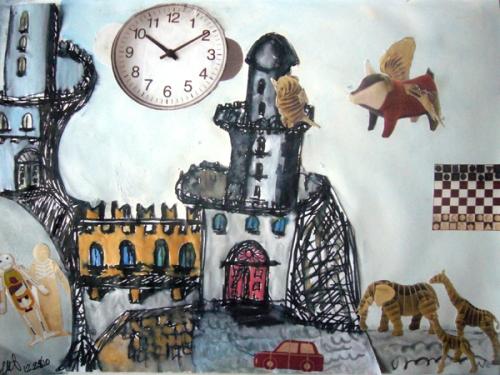 The Fortress of Lost Time. Graphite on paper and magazine cutouts. December 27, 2010. Miti and Gianni Aiello.