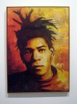 Basquiat. Stencil impression and mixed media collage on canvas. Shepard Fairey, 2010.