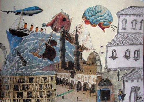 Graphite on paper and magazine cutouts. December 27, 2010. Miti and Gianni Aiello.