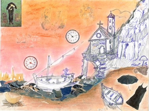 Mare Mosso Act III. Graphite and pen drawing by Gianni Aiello. Collag and pastel. March 19, 2011.