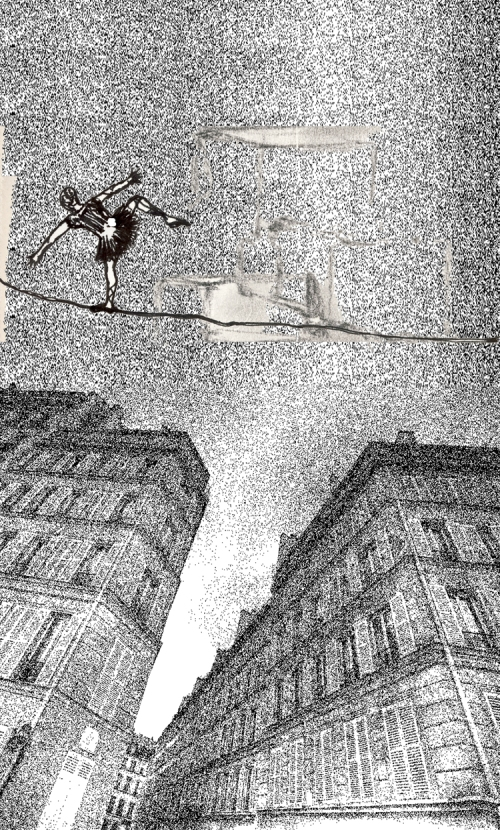 The funambulist. Ink drawing + digital collage. August 2011.