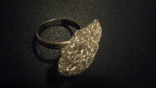 Wire Crochet ring. This is a cocktail ring that can have a rounded or flattened look. November 20, 2011.