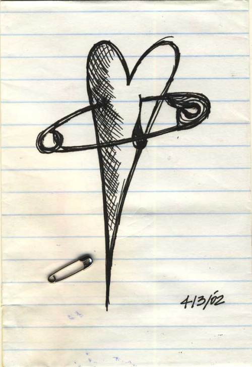 How to pin a heart to a sleeve. Ink on Paper. 2002