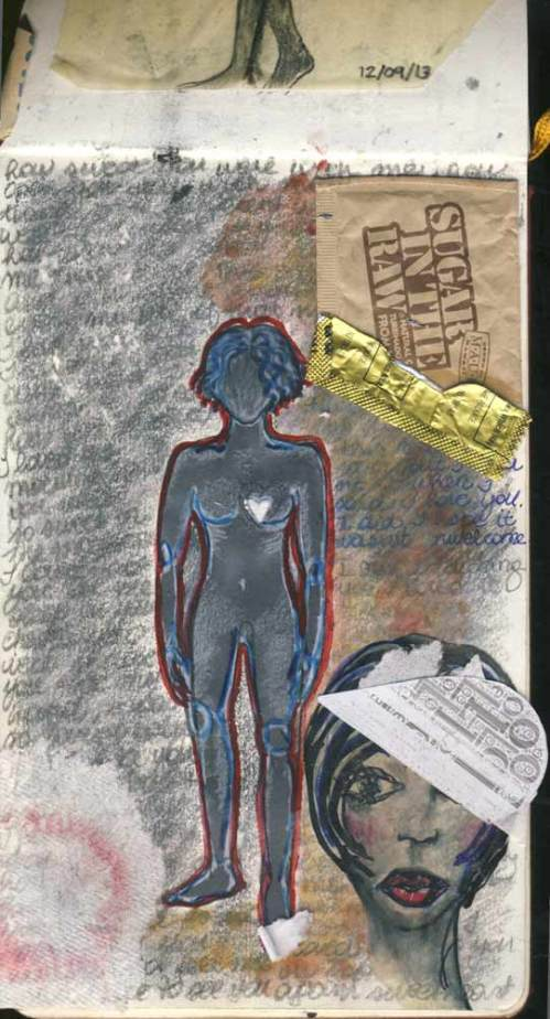 I found and lost myself inside of that night. Collage. Graphite, fountain ink, found objects. San Diego. December 9, 2013.
