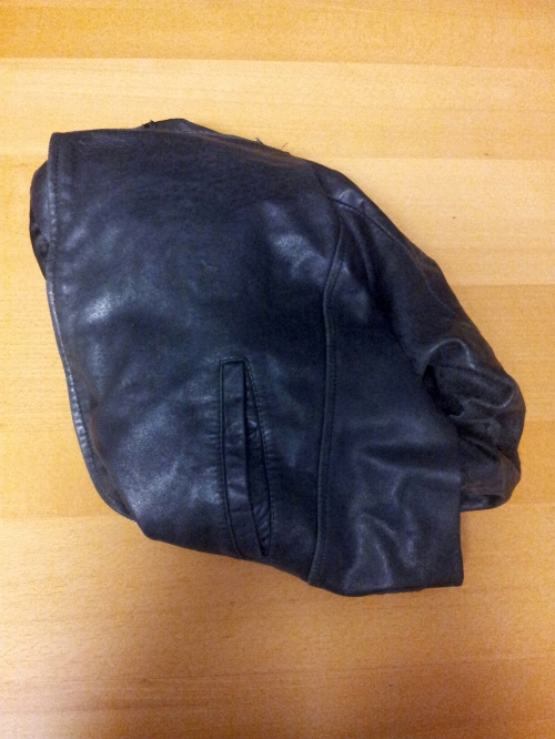 The sacrificial lamb- an old leather jacket already repaired twice.